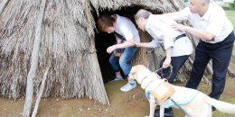 竪穴式住居に入る盲導犬ユーザー