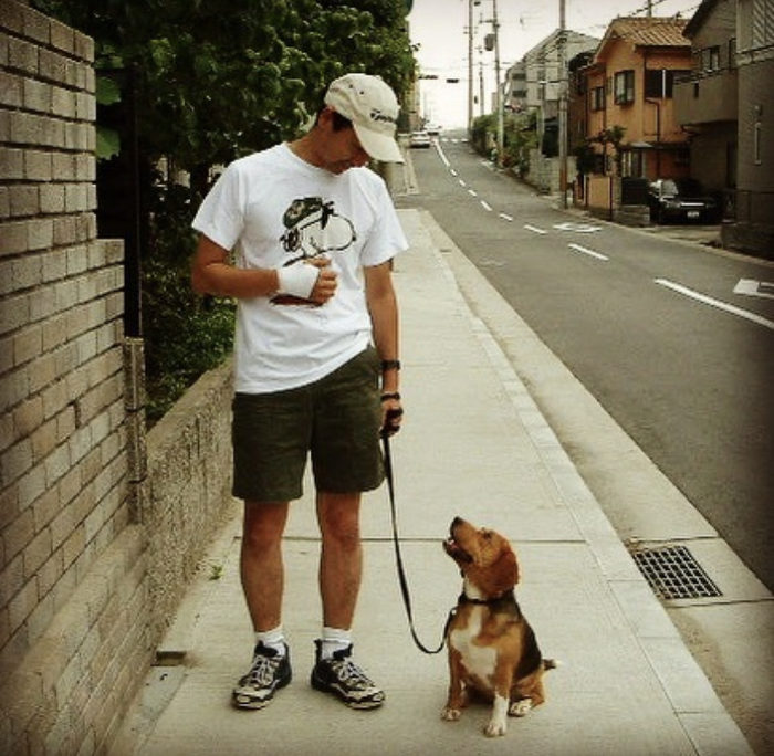 お散歩中にアイコンタクトを取る人と犬の写真